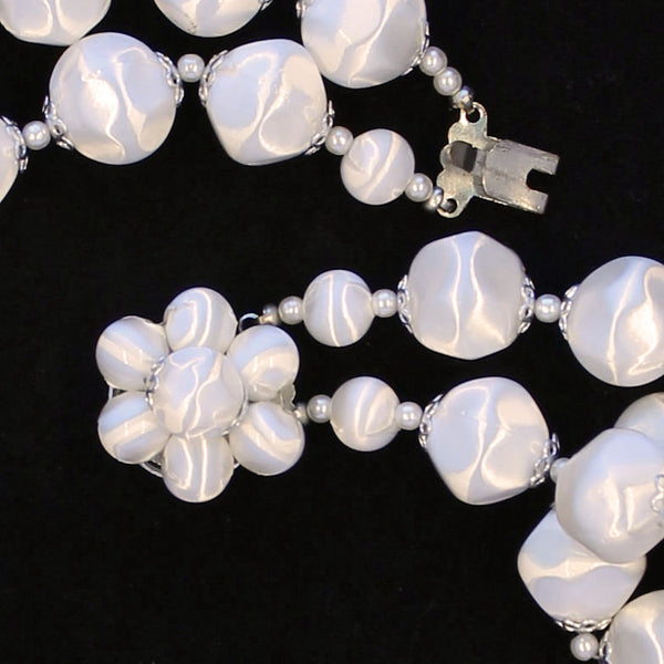 White Faux Satin Bead Necklace Clasp - Flotsam from Michigan - 3