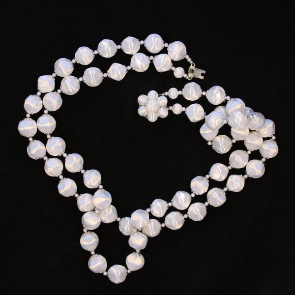 White Faux Satin Bead Necklace whole - Flotsam from Michigan - 2