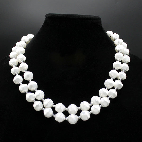White Faux Satin Bead Necklace - Flotsam from Michigan - 1