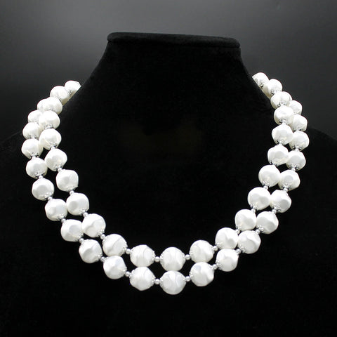 White Faux Satin Bead Double Strand Necklace Japan