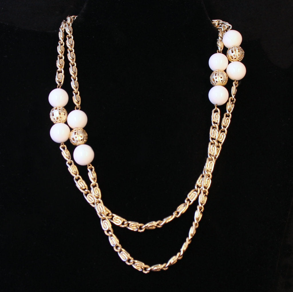 Goldtone & White Scroll Chain Necklace - Flotsam from Michigan - 1