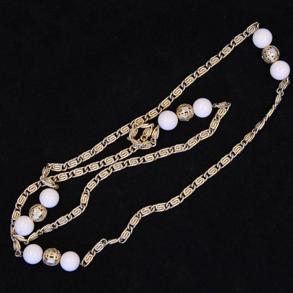 Goldtone & White Scroll Chain Necklace Back - Flotsam from Michigan - 2