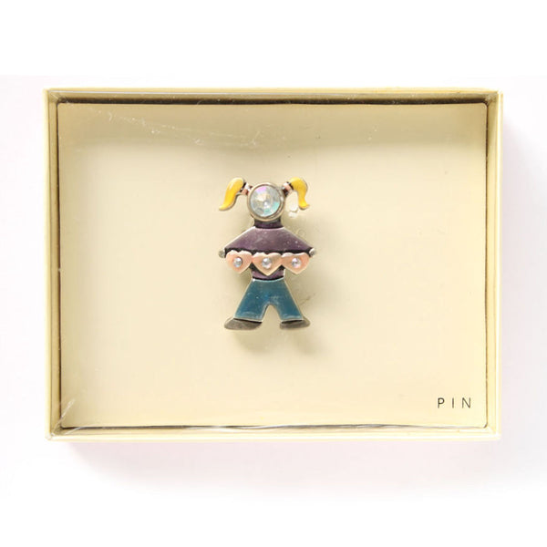 Cute Little Girl Enamel and Rhinestone Pin in Box - Flotsam from Michigan  - 2