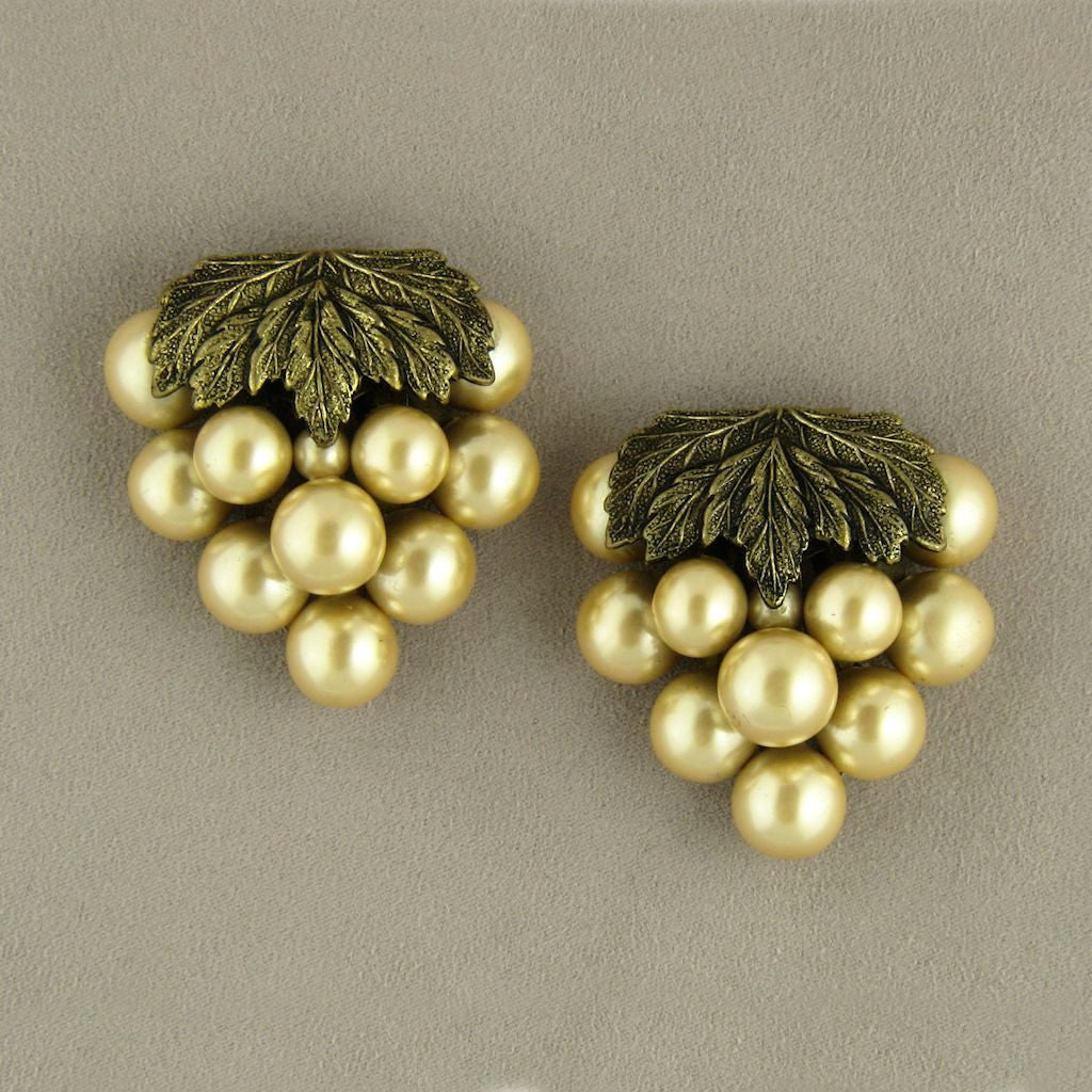 Golden Grapes Imitation Pearl Vintage Dress Clips - Flotsam from Michigan  - 1