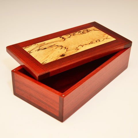 Bloodwood & Spalted Maple Large Valet Box