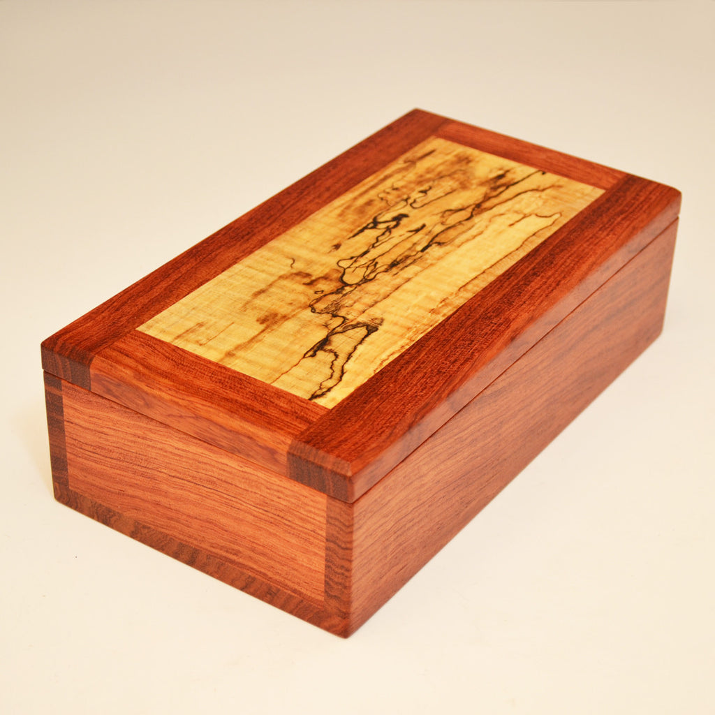 Bubinga & Spalted Maple Large Valet Box