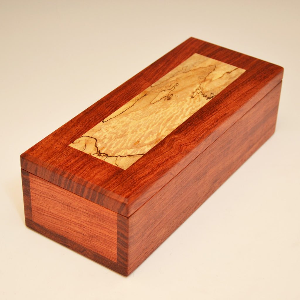 Bubinga and Spalted Maple Medium Large Valet Box