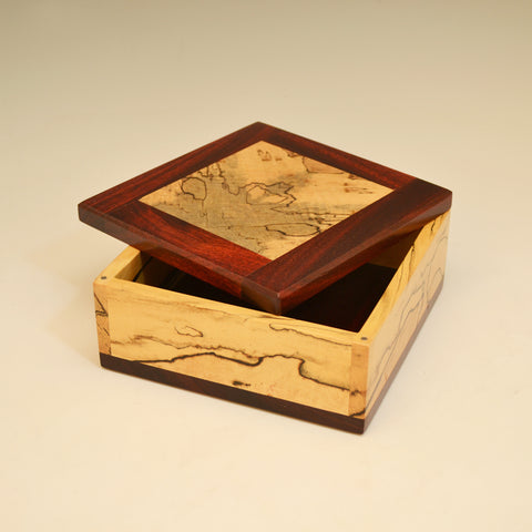 Spalted Maple & Bloodwood Small Square Valet Box