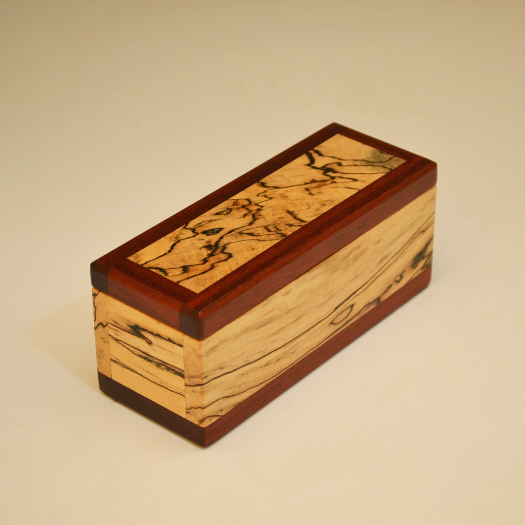 Spalted Maple & Bloodwood Long Keepsake Box