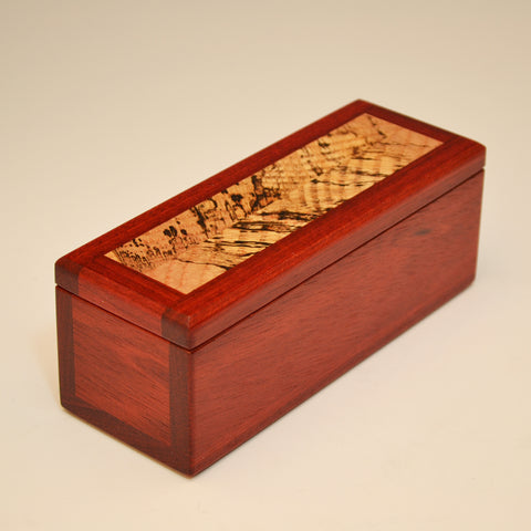 Bloodwood & Spalted Maple Small Long Valet Box