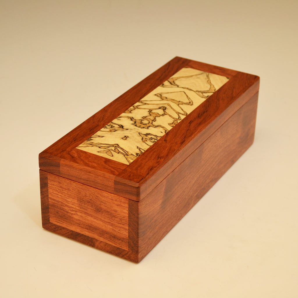 Bubinga & Spalted Maple Long Valet Box
