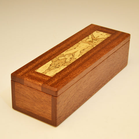 Mahogany & Spalted Maple Long Valet Box