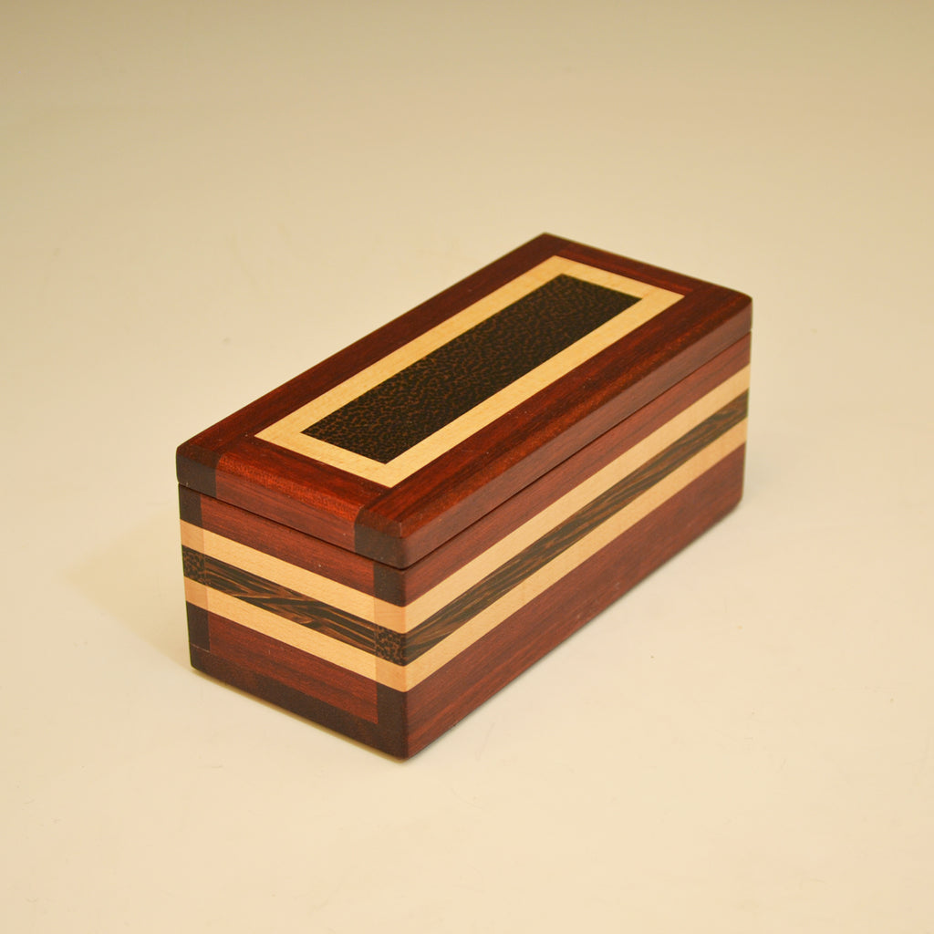 "Bloodwood, Black Palm & Maple Small ""Dennis"" Keepsake Box"