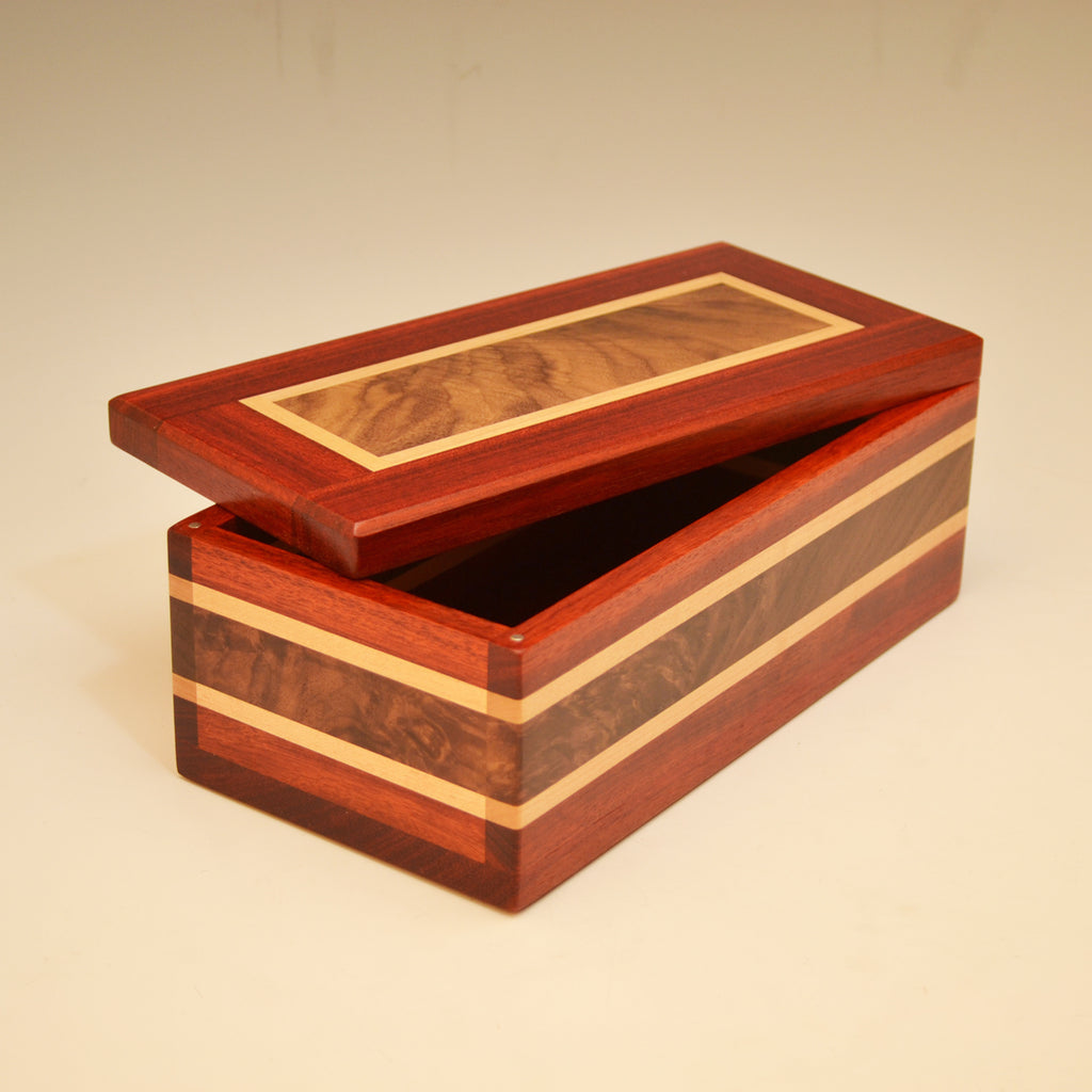 Black walnut and quilted maple box #703