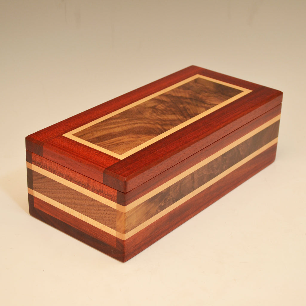 "Bloodwood, Black Walnut, & Maple ""Dennis"" Large Valet Box"