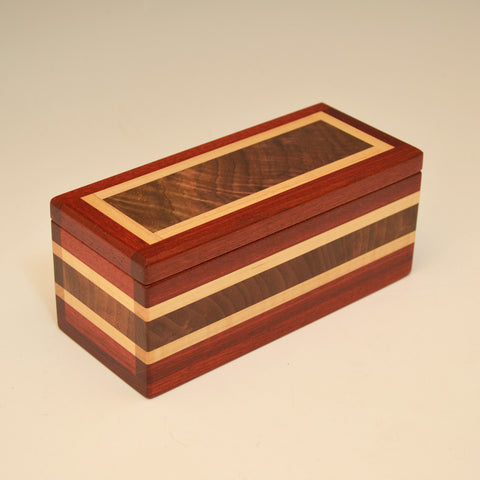 "Bloodwood, Black Walnut & Maple ""Dennis"" Keepsake Box"