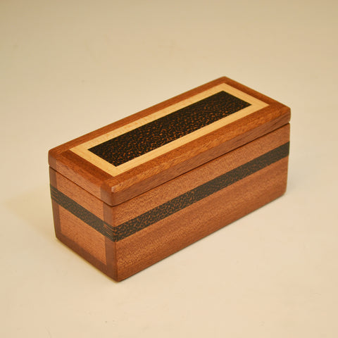 "Mahogany, Black Palm & Maple Small ""Dennis"" Keepsake Box"