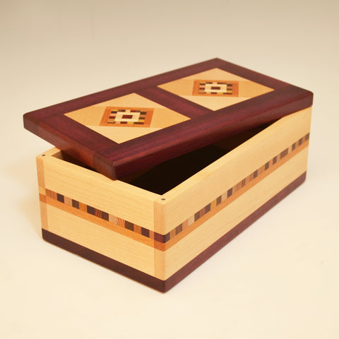 "Maple & Purpleheart Double ""Marsha"" Large Valet Box"