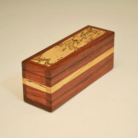 Bubinga & Spalted Maple Long Keepsake Box