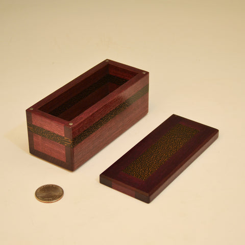 Purpleheart & Black Palm Small Keepsake Box