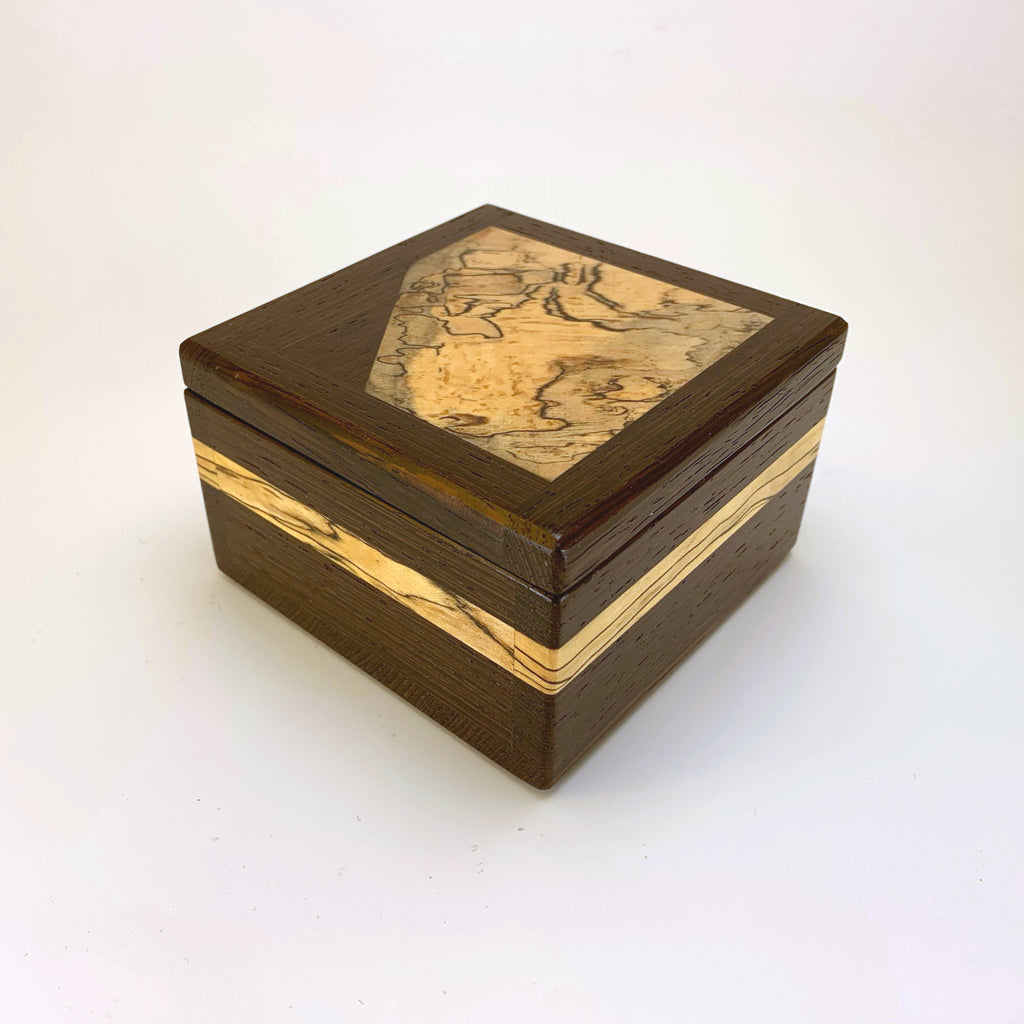 "Wenge & Spalted Maple ""Brianna"" Small Keepsake Box One of a Kind"