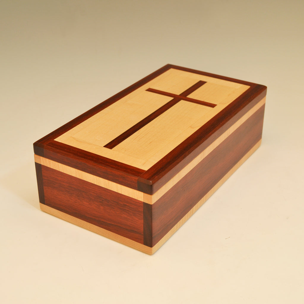 Bloodwood & Maple Large Cross Valet Box