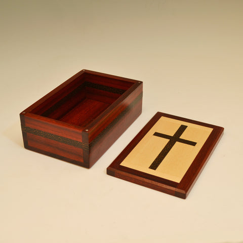 Bloodwood, Maple & Black Palm Small Cross Valet Box