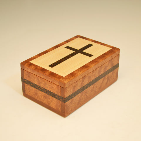 Mahogany, Maple & Black Palm Small Cross Valet Box