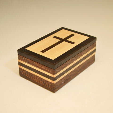 Wenge, Maple & Black Palm Small Cross Valet Box