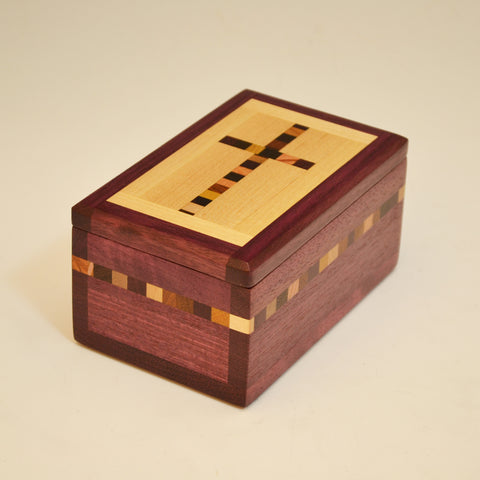 Purpleheart Small Cross Keepsake Box