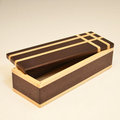 Wenge & Maple Asymmetric Long Valet Box