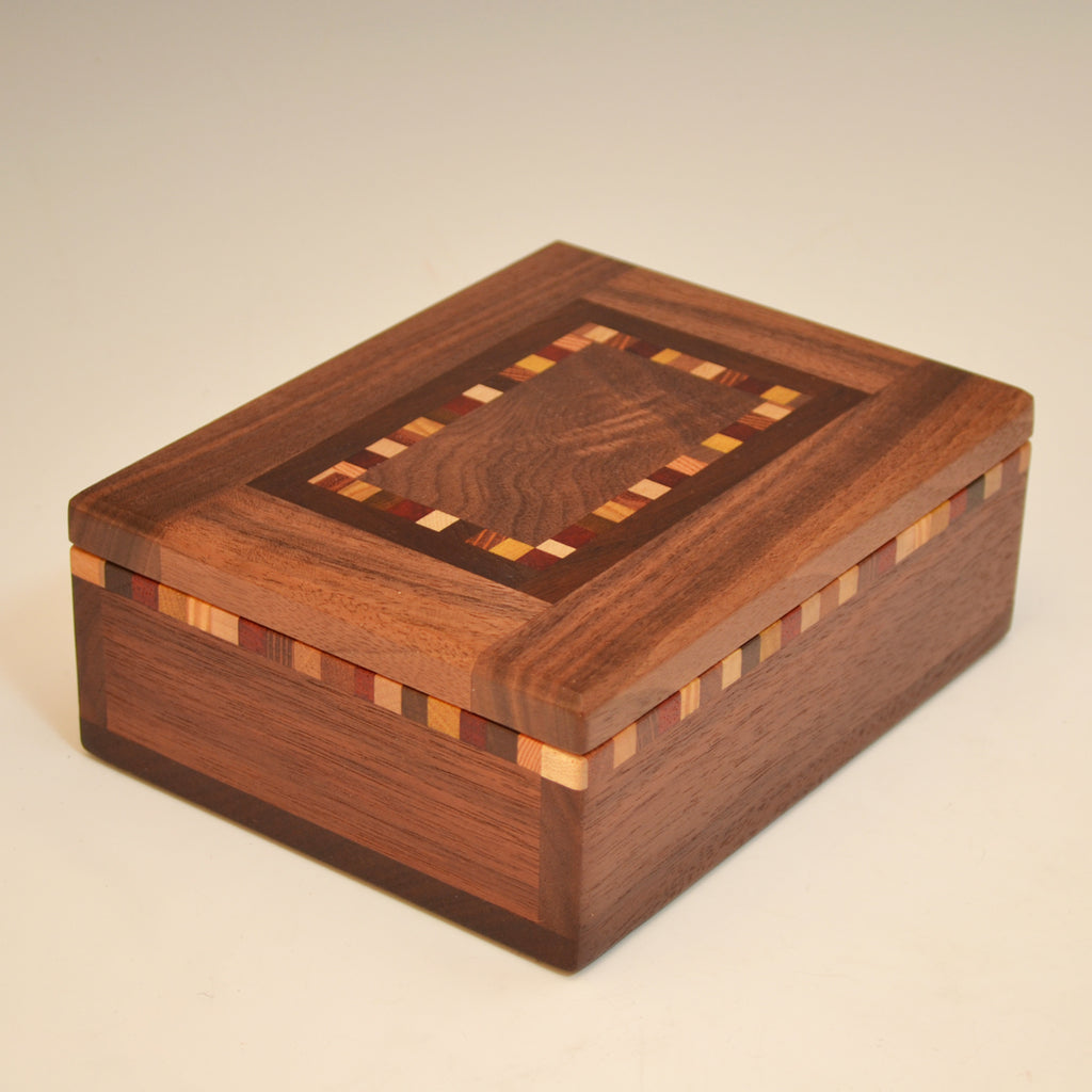 "Black Walnut & Maple ""Patti"" Med Small Valet Box"