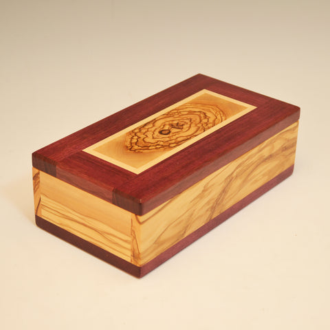 Olivewood, Purpleheart & Maple Eyeglass Box