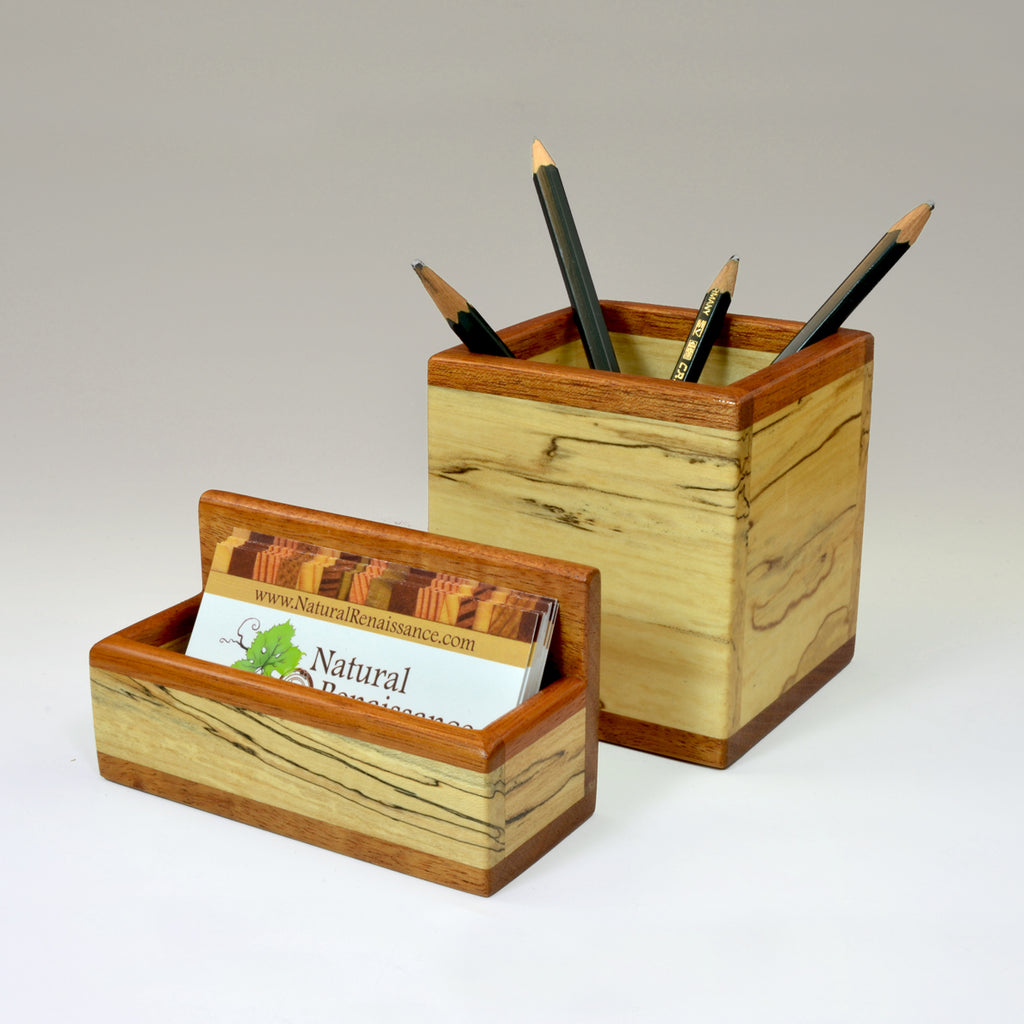 """Michael"" Spalted Maple & Mahogany Desk Set"