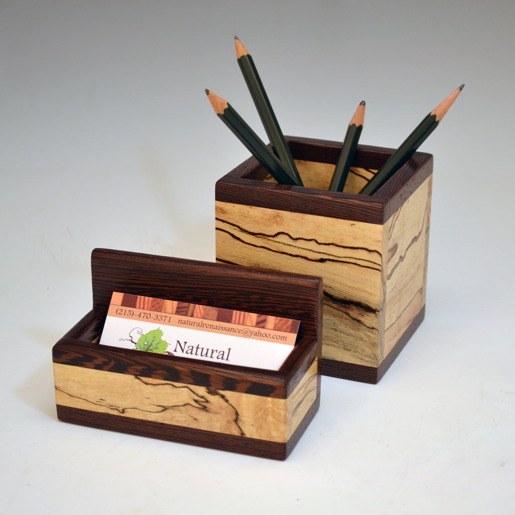 """Michael"" Spalted Maple & Wenge Desk Set"
