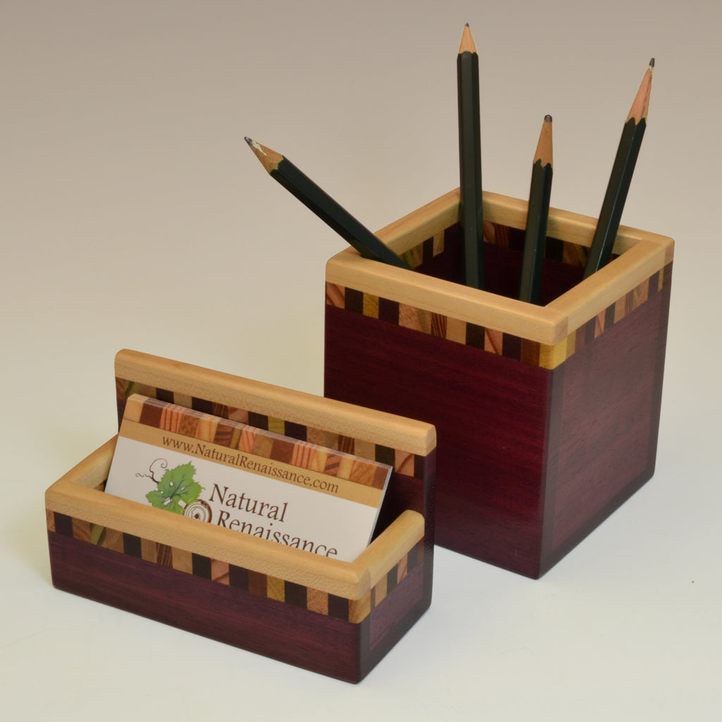 """Patti"" Purpleheart Desk Set"