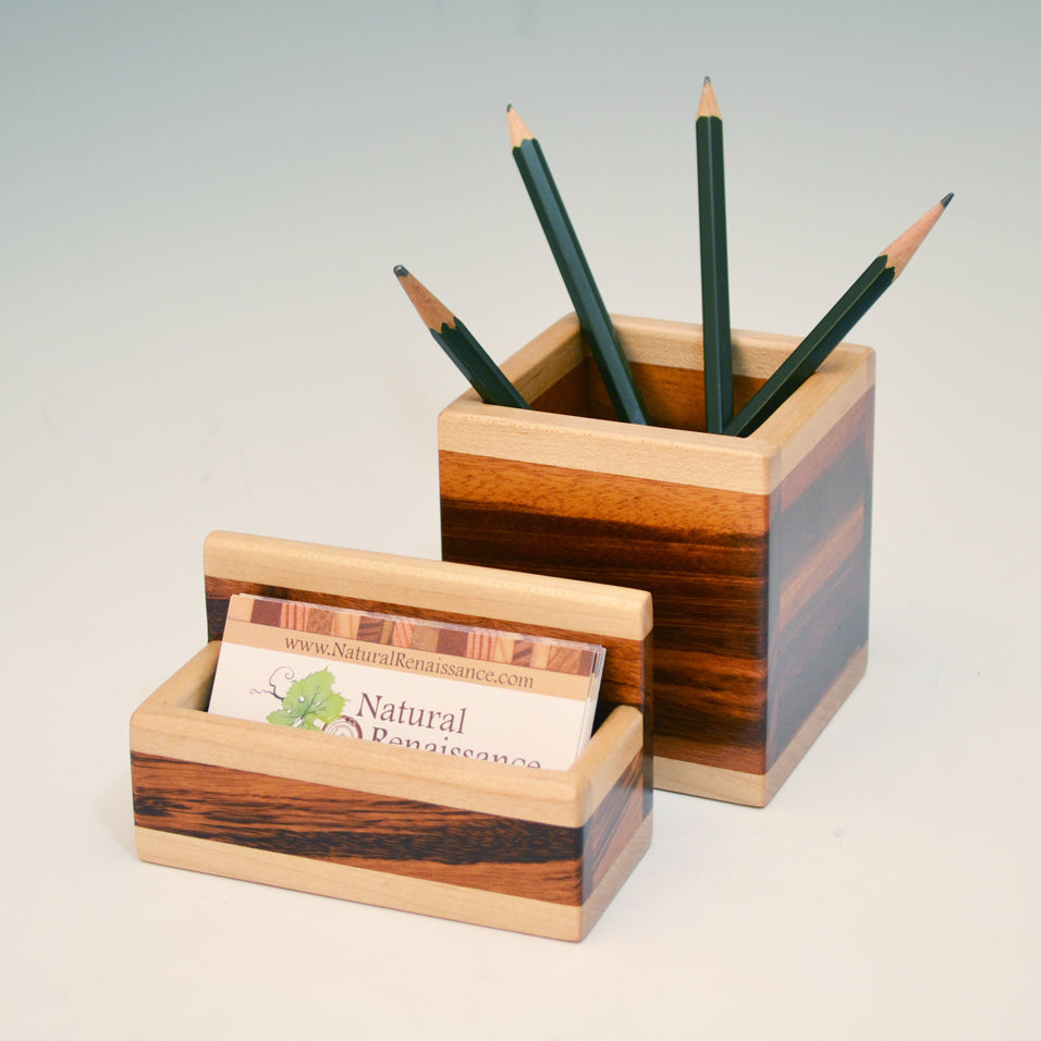"""Michael"" Tigerwood & Maple Desk Set"