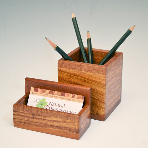 """Michael"" Tigerwood and Mahogany Desk Set"