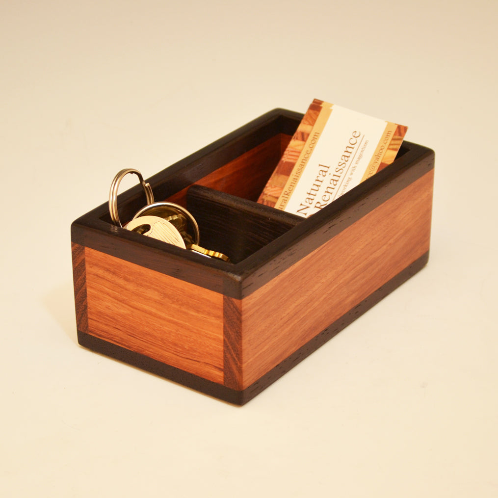 Bubinga & Wenge Med Small Bin with Divider