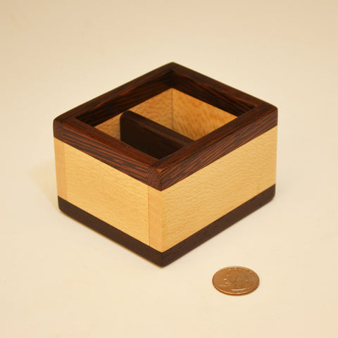 Sycamore & Wenge Small Bin with Divider