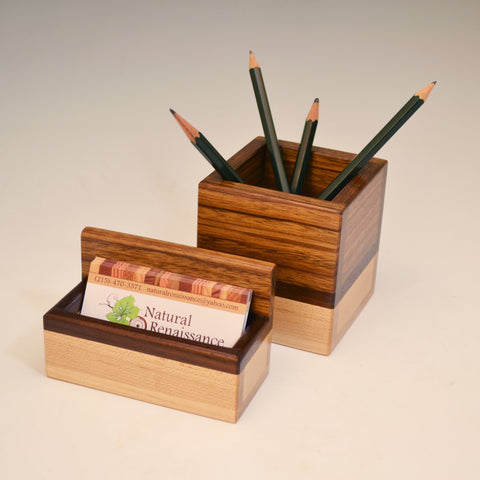 """Kyle"" Ovangkol & Maple Desk Set"
