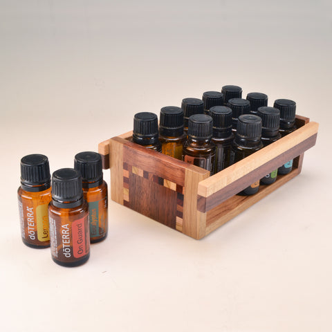 "Black Walnut ""Nichole"" Essential Oil Crate (for 15 oils)"