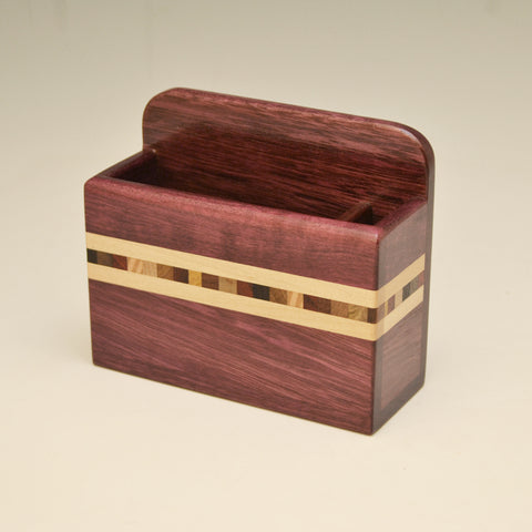 """Xander"" Purpleheart Fridge Caddy with Key Holders"