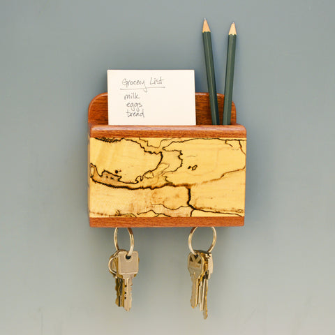 """Michael"" Mahogany & Spalted Maple Fridge Caddy with Key Holders"