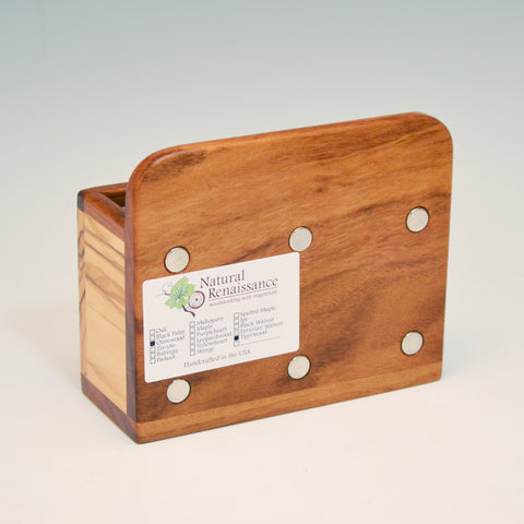 """Michael"" Tigerwood & Olivewood Fridge Caddy with Key Holders"