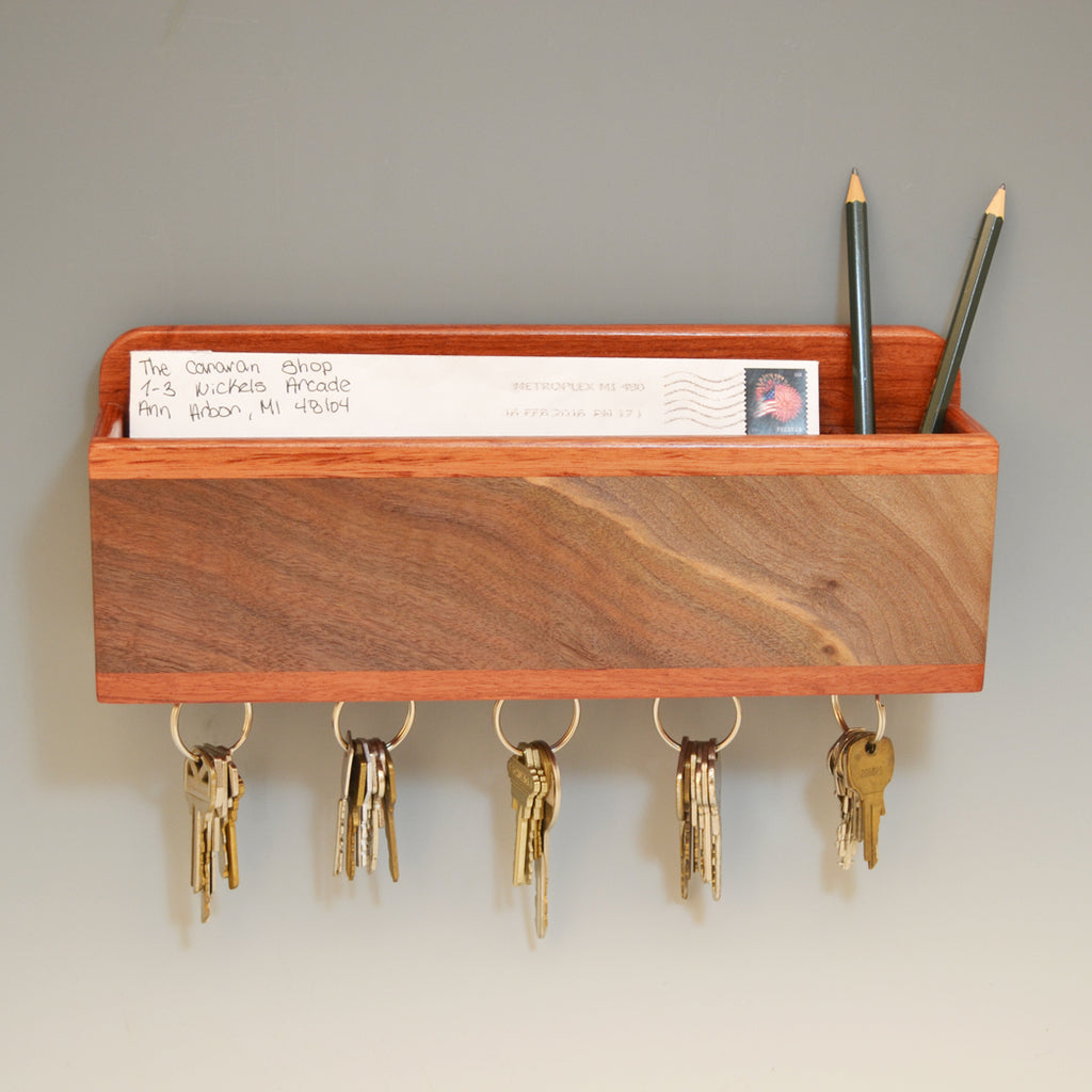 Bubinga & Black Walnut Wall Caddy