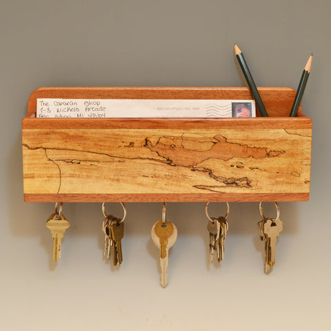 Mahogany & Spalted Maple Wall Caddy
