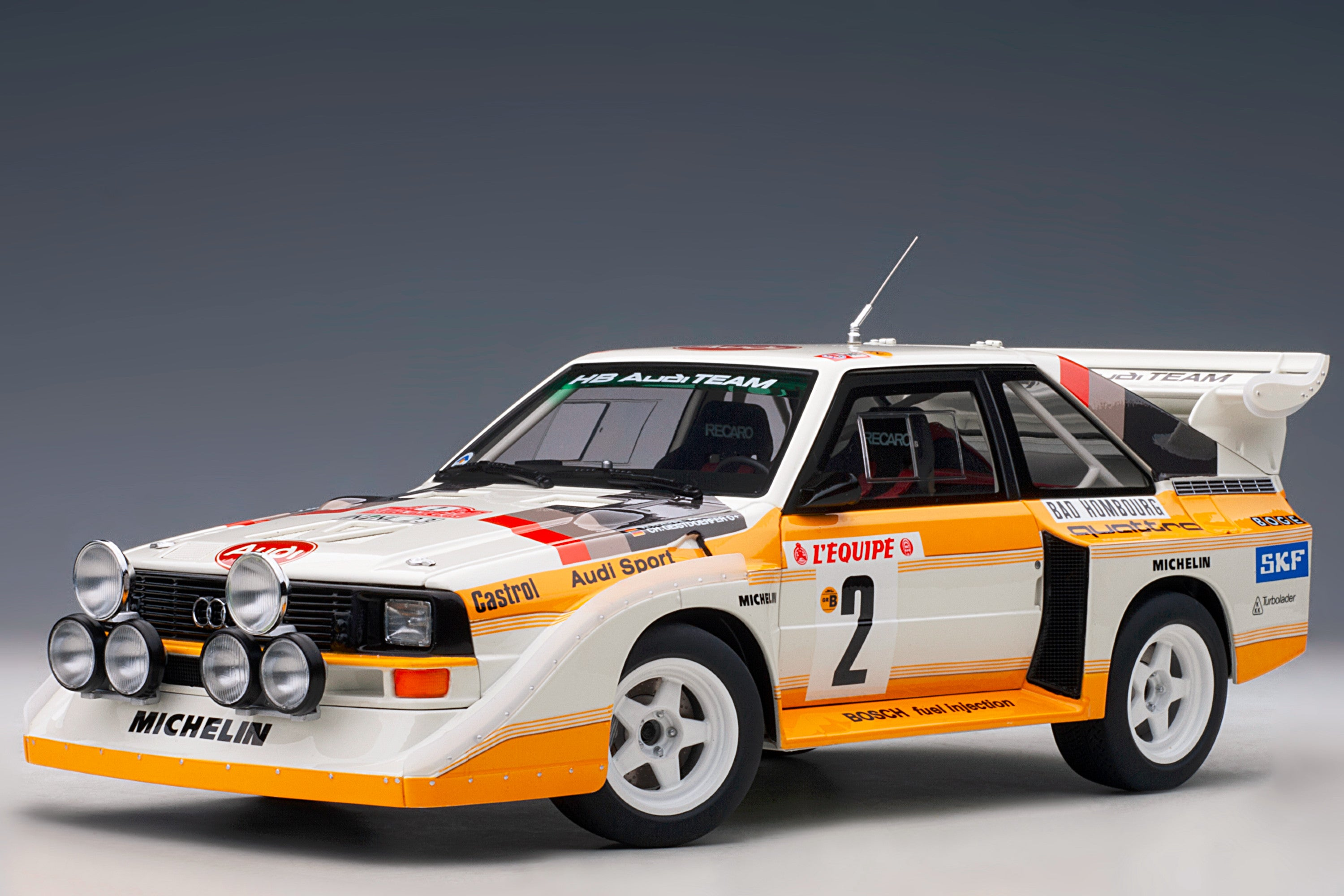 Audi Sport Quattro (1986 Monte Carlo Rally Winner) | 1:18 Scale Model Car by AUTOart | Front Quarter