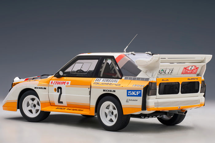 Audi Sport Quattro (1986 Monte Carlo Rally Winner) | 1:18 Scale Model Car by AUTOart | Rear Quarter