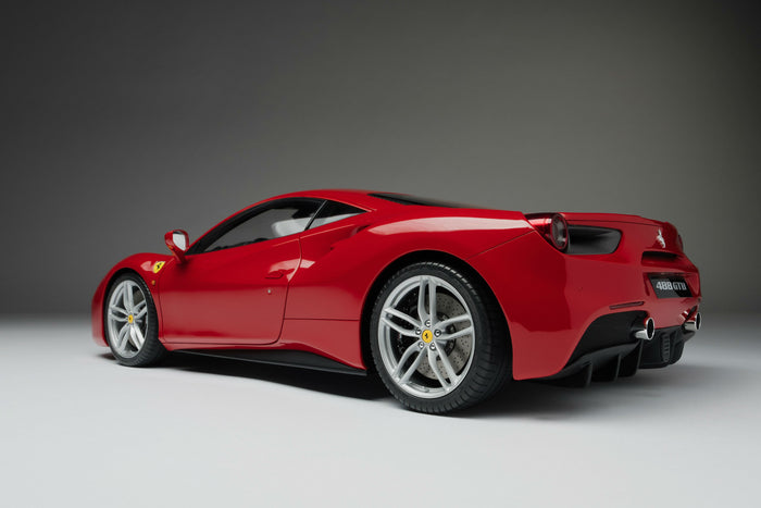 Ferrari 488 GTB | 1:8 Scale Model Car by the Amalgam Collection | Rear Quarter
